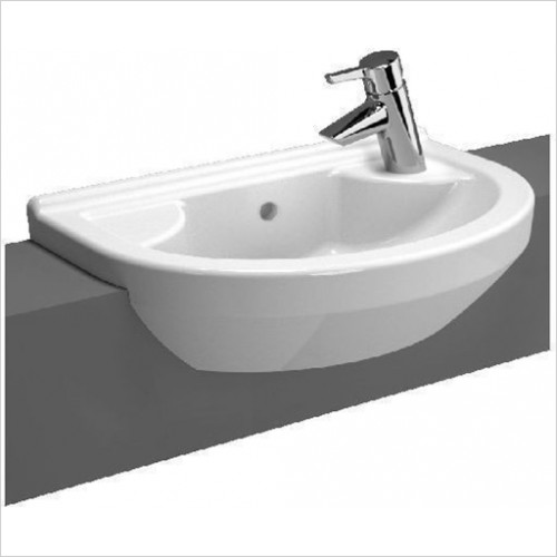 Vitra Bathroom Collection - S50 Compact Semi-Recessed Basin 55cm Round 1TH LH