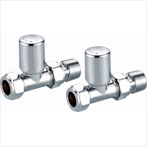 Scudo Bathrooms - Modern Straight Radiator Valves (Pair)