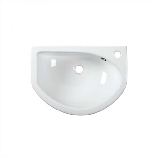 Tavistock - D-Shape 540mm Semi-Countertop Basin, Slim Depth