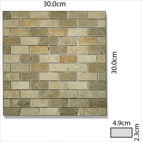Abacus - Marble Rectangle Mixed Colour Mosaic Tile 4.9 x 2.3 x 1cm