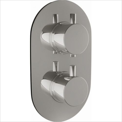 Scudo Bathrooms - Twin Oval Concealed Valve with Diverter - Plate
