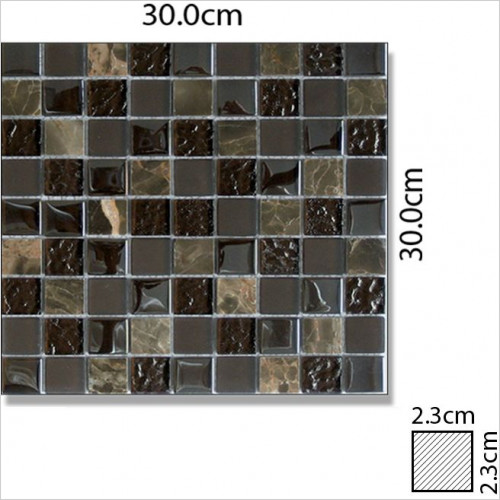 Abacus - Glass Mixed Square Large Mosaic Tile 30x30cm, 1 Sheet C1015