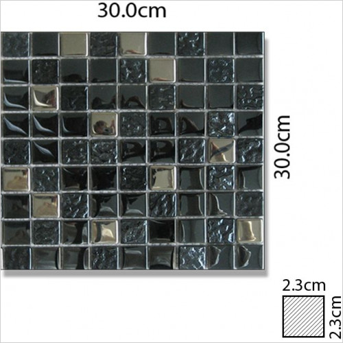 Abacus - Mixed Square Large Glass & Stone Mosaic Tile 30 x 30cm