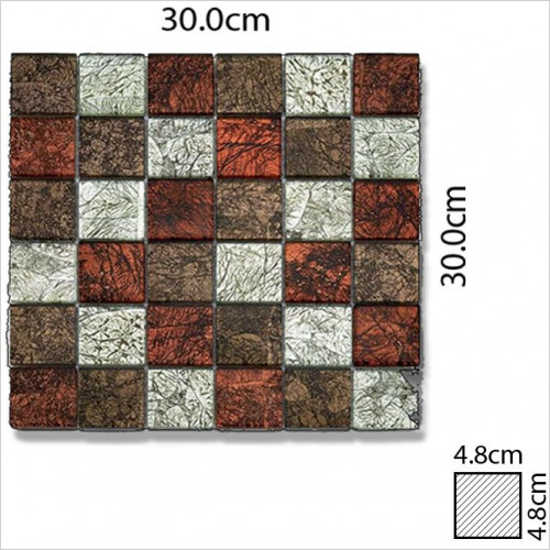 Abacus - Glass Square Mosaic Tile 30 x 30cm, 1 Sheet B1015