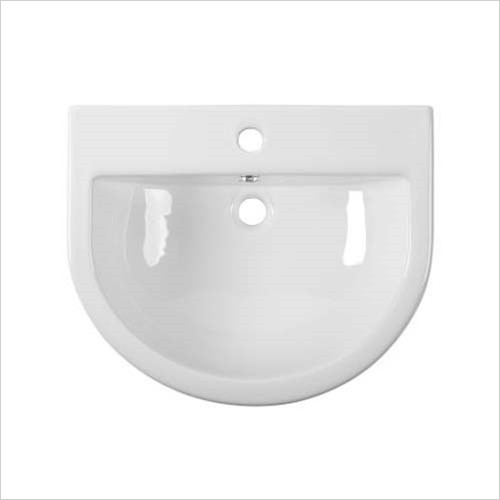 Tavistock - D-Shape 560mm Semi-Countertop Basin, Standard Depth