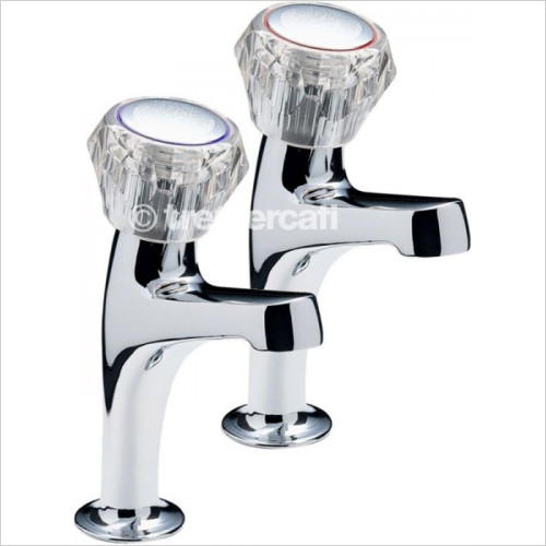 Tremercati - Special Eco Pair Of High Neck Pillar Taps With Clear Heads