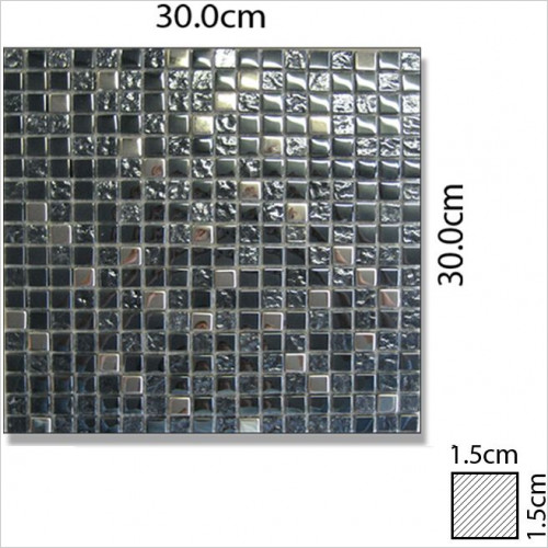 Abacus - Mixed Square Small Glass & Stone Mosaic Tile 30 x 30cm