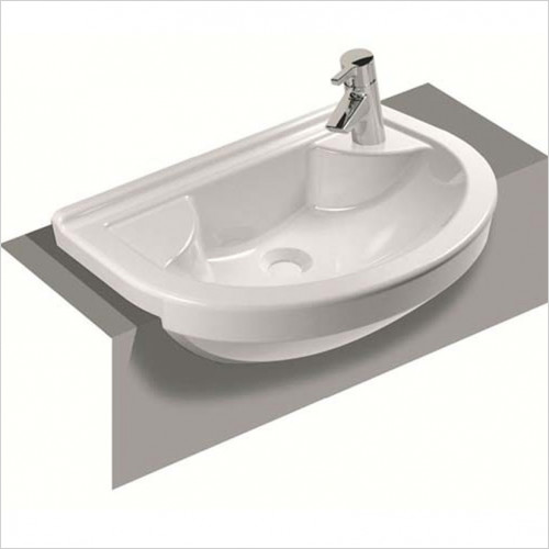 Vitra Bathroom Collection - S50 Compact Semi-Recessed Basin 55cm Round 1TH RH