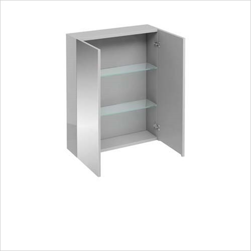 Britton Aqua Cabinets - 2 Door Wall Unit With Mirrored Doors 60 x 75 x 15cm