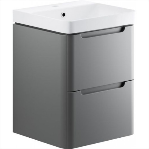 Moods - Lambra 500mm 2 Drawer Wall Hung Unit & Basin