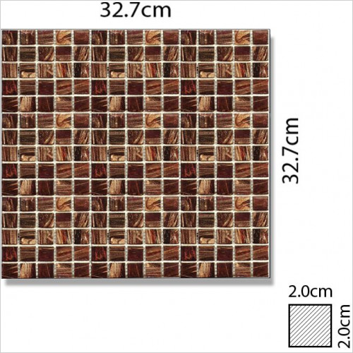 Abacus - Glass Square Mosaic Tile 32.7 x 32.7cm, 1 Sheet B1005